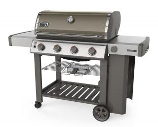 A grey 4 burner BBQ from Weber combining the new GS4 grilling system with the versatility of a Gourmet BBQ system grate.