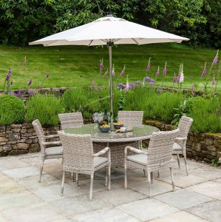 A light coloured woven 6 seater dining set with parasol & base & a choice of chairs.