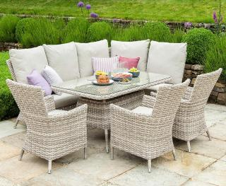 This comfortable rectangular set is ideal for relaxing or dining.