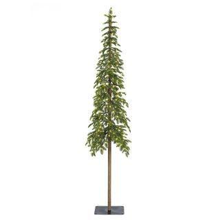 This 6ft PE/PVC mix Pre-lit Alpine Pencil Fir would make a great entrance tree..