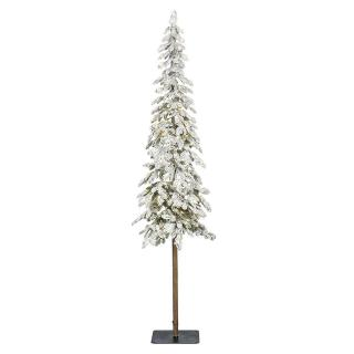 This 7ft PE/PVC mix Pre-lit Snowy Alpine Pencil Fir is a contemporary alternative to a full size tree.