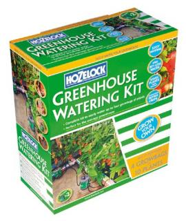 Hozelock Greenhouse Watering Kit 2822. The greenhouse watering kit will quickly and easily water your greenhouse plants, freeing you up to enjoy your garden.