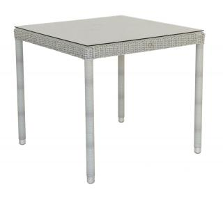 Alexander Rose Code 7009CW. A beautifully woven white resin weave table with glass top.