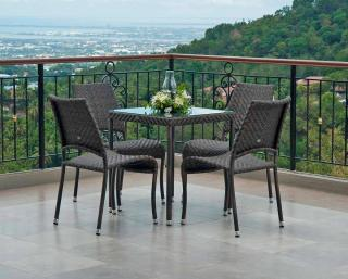 Alexander Rose Ocean Fiji Square 4 Seat Set with Side Chairs