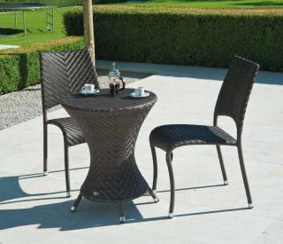 An elegant woven bistro set with a choice of chairs.