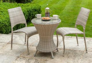 Alexander Rose Ocean Pearl Bistro Set with stacking side chairs