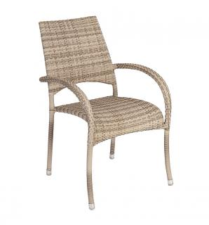 Alexander Rose Code 723PRL. An armchair in a light coloured weave which can be stacked for easy storage.