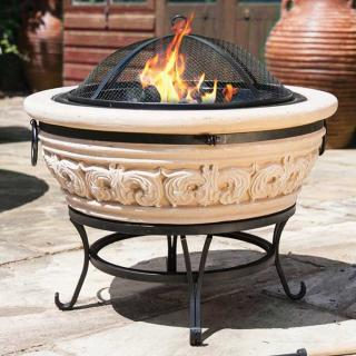 The Carved Scroll Firepit would be suitable for a large garden or patio. La Hacienda 58173.