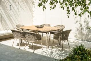 Alexander Rose Cordial Aluminium & Roble 6 Seat Dining Set in Beige with Anthracite Cushions