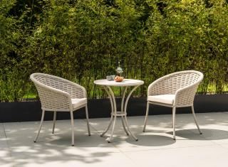 Alexander Rose Cordial Aluminium & HPL Bistro Set in beige with oatmeal cushions