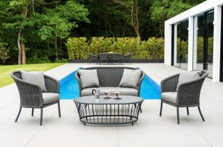 Alexander Rose Cordial Grey Curved Top Lounge Set with Glass Table
