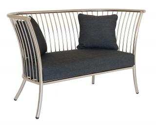 Alexander Rose Code 7546SS. This stunning stainless steel sofa with cushions will seat two.