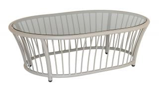 Alexander Rose Code 7547BE. This attractive beige aluminium coffee table has a grey tinted glass table top.