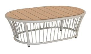 Alexander Rose Cordial Beige Aluminium & Roble Oval Coffee Table