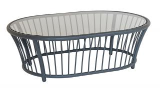 Alexander Rose Code 7547GR. This 1.2m oval aluminium coffee table has a co-ordinating grey tinted glass table top.