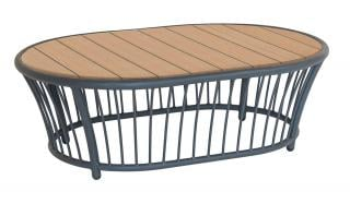 Alexander Rose Code 7547GRROB. This curved grey powder coated aluminium coffee table has a Roble hardwood table top.