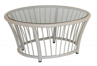 Alexander Rose Code 7548BE. This attractive beige aluminium side table has a grey tinted glass table top.