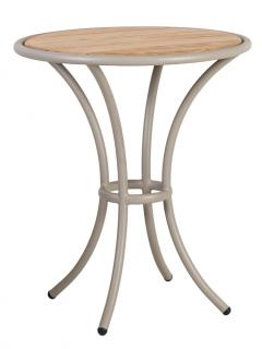 Alexander Rose Code 7551BEROB. This attractive beige powder coated aluminium bistro table has a Roble hardwood table top.