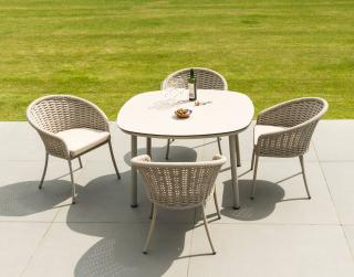 This retro aluminium 4 seat set comes in a choice of colours, beige or grey with an HPL table top & a choice of cushion colours.