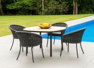 This attractive aluminium 4 seat set comes in a choice of colours, beige or grey with a roble hardwood table top & a choice of cushion colours.