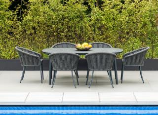 This shaped, rectangular aluminium 6 seat set comes in a choice of colours, beige or grey with an HPL table top & a choice of cushion colours.