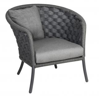 Alexander Rose Cordial Luxe Curved Top Lounge Chair in dark grey/anthracite