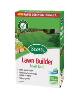 Scotts Lawn Builder Lawn food 100sqm. Greens lawns in 7 days. Lawns stay thicker and greener for up to 8 weeks. Slow release formula.