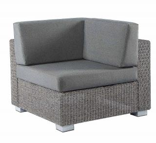 Alexander Rose Code 7705GR-COR. A grey weave corner unit with cushions.