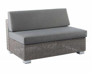 Alexander Rose Code 7705GR-MID. A grey weave sofa with textured dark grey cushions.