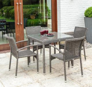 This low maintenance set features resin weave armchairs with a 0.8m square woven table.