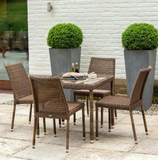 This stylish all weather resin weave set for four is ideal for a small patio or garden.