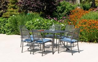 Alexander Rose Portofino Rectangular 6 Seat Set with Mesh Armchairs showing blue cushions