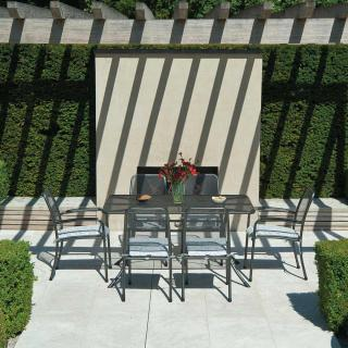 Alexander Rose Portofino Rectangular 6 Seat Set with Mesh Armchairs