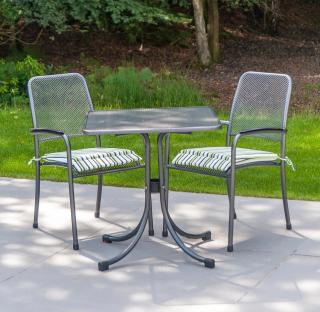 This powder coated, steel & wire mesh set would be ideal for a sunny corner & comes with a choice of chairs.