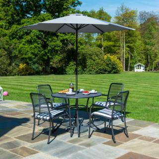 This powder coated, tubular steel & wire mesh table comes with a parasol & base plus a choice of armchairs.