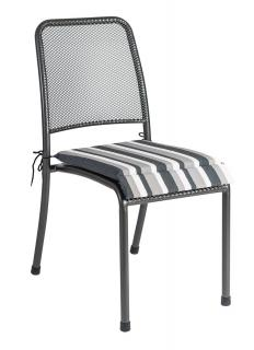 Alexander Rose Portofino Stacking Chair/Armchair Cushion in charcoal stripe
