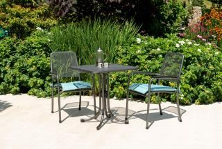 Alexander Rose Portofino Square Bistro Set showing cushion in Jade