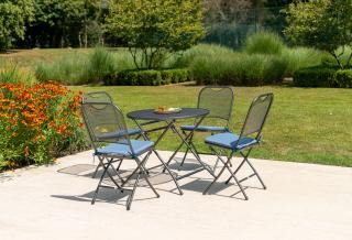 Alexander Rose Portofino Round 4 Seat Folding Set showing available cushions in Blue