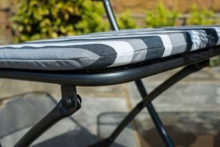 Alexander Rose Portofino Folding Chair Cushion in Charcoal Stripe