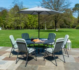 This powder coated, tubular steel & 1.5m wire mesh table comes with a parasol & base with high back armchairs.
