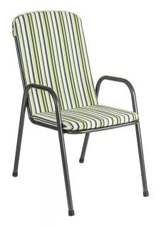 Alexander Rose Portofino High Back Stacking Armchair Cushion in Green Stripe
