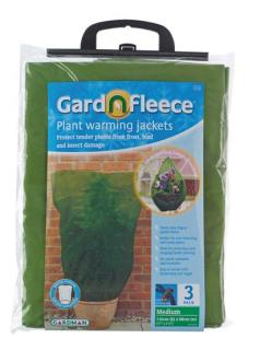 Protect tender plants from frost, bird and insect damage.  These fleece jackets are perfect for over wintering half hardy plants and hanging baskets.