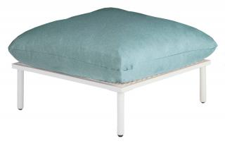 Alexander Rose Beach Lounge Footstool in Shell with Jade Cushion