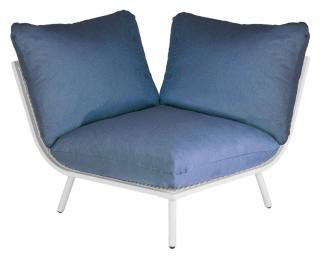 Alexander Rose Beach Lounge Corner Module in Shell with Blue Cushion