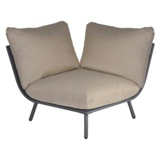 Alexander Rose Beach Lounge Corner Module in Flint with Taupe Cushion
