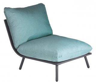Alexander Rose Beach Lounge Middle Module in Flint with Jade Cushion
