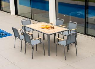 This stunning 1.56m aluminium set has a Roble table top & comes in a choice of colours with a number of seating options.