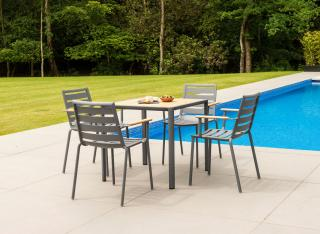 This stunning 0.76m aluminium set has a Roble table top & comes in a choice of colours with a number of seating options.