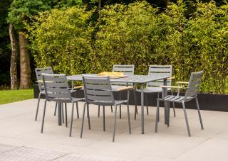 This lightweight 1.6m rectangular aluminium set has a slatted table top & comes in a choice of colours with a number of seating options.