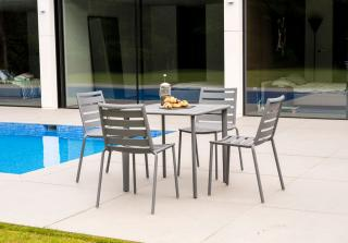 This lightweight 0.8m aluminium set has a slatted table top & comes in a choice of colours with a number of seating options.